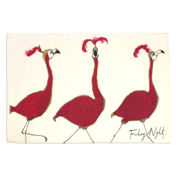 Friday Night Flamingo Tea Towel