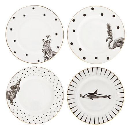 Black and White Animals Cake Plates