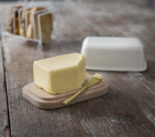 Warm White Enamel Butter Dish with Wooden Lid
