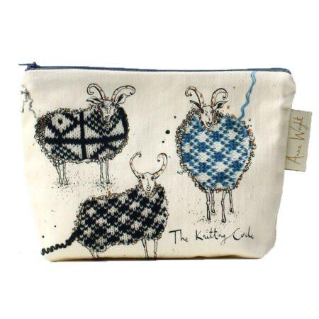 Knitting Circle Sheep Make Up Bag
