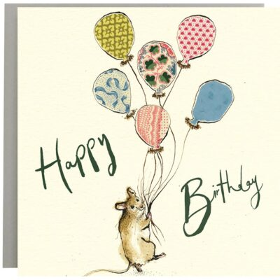 Happy Birthday Mouse Balloons Card