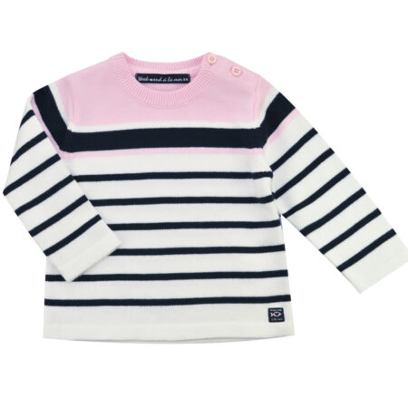 NEWVECCHIO Jumper - Pink and Navy Stripes