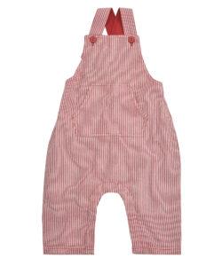 Baby Seersucker Dungarees - Red