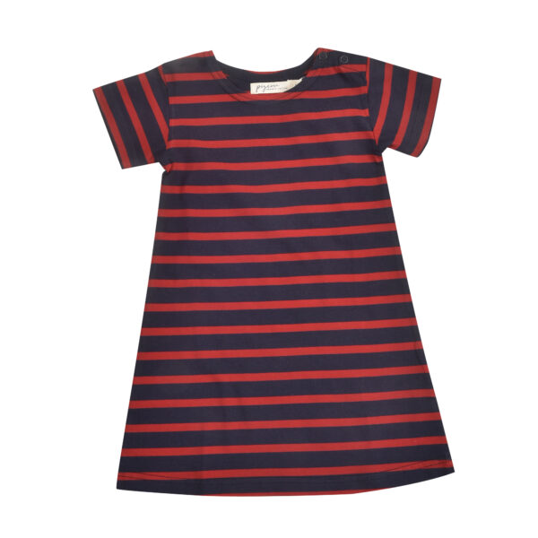 Breton Dress - Navy/Red