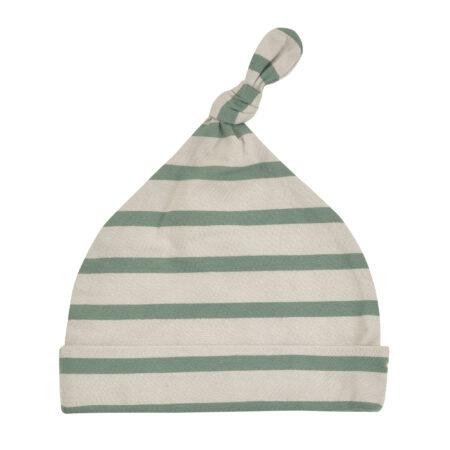 Breton Stripe Knotted Hat - Pebble/Ivy