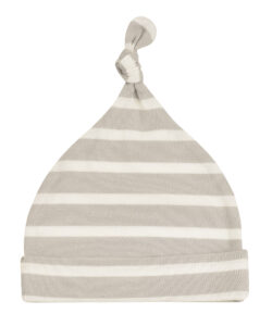 Breton Stripe Knotted Hat - Pebble/White