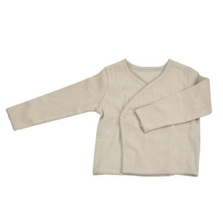 Pointelle Kimono Jacket - Pebble