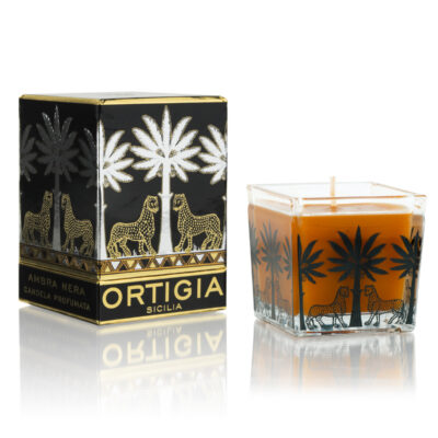 Ambra Nera square glass candle
