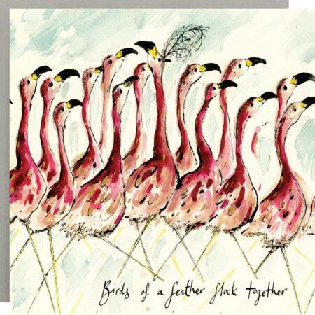 Birds of a Feather Flamingo Card