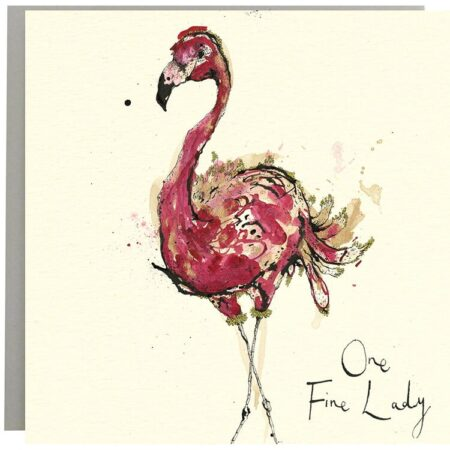 One Fine Lady Flamingo Card